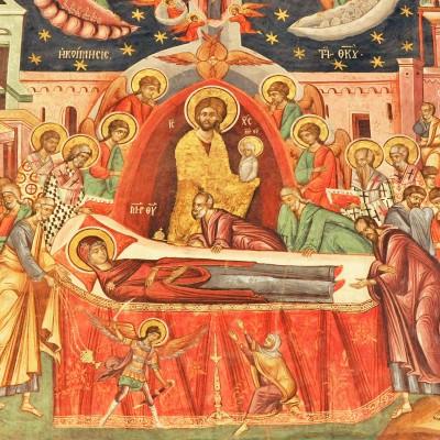 Adormirea Maicii Domnului - frescă, Mănăstirea Hurezi